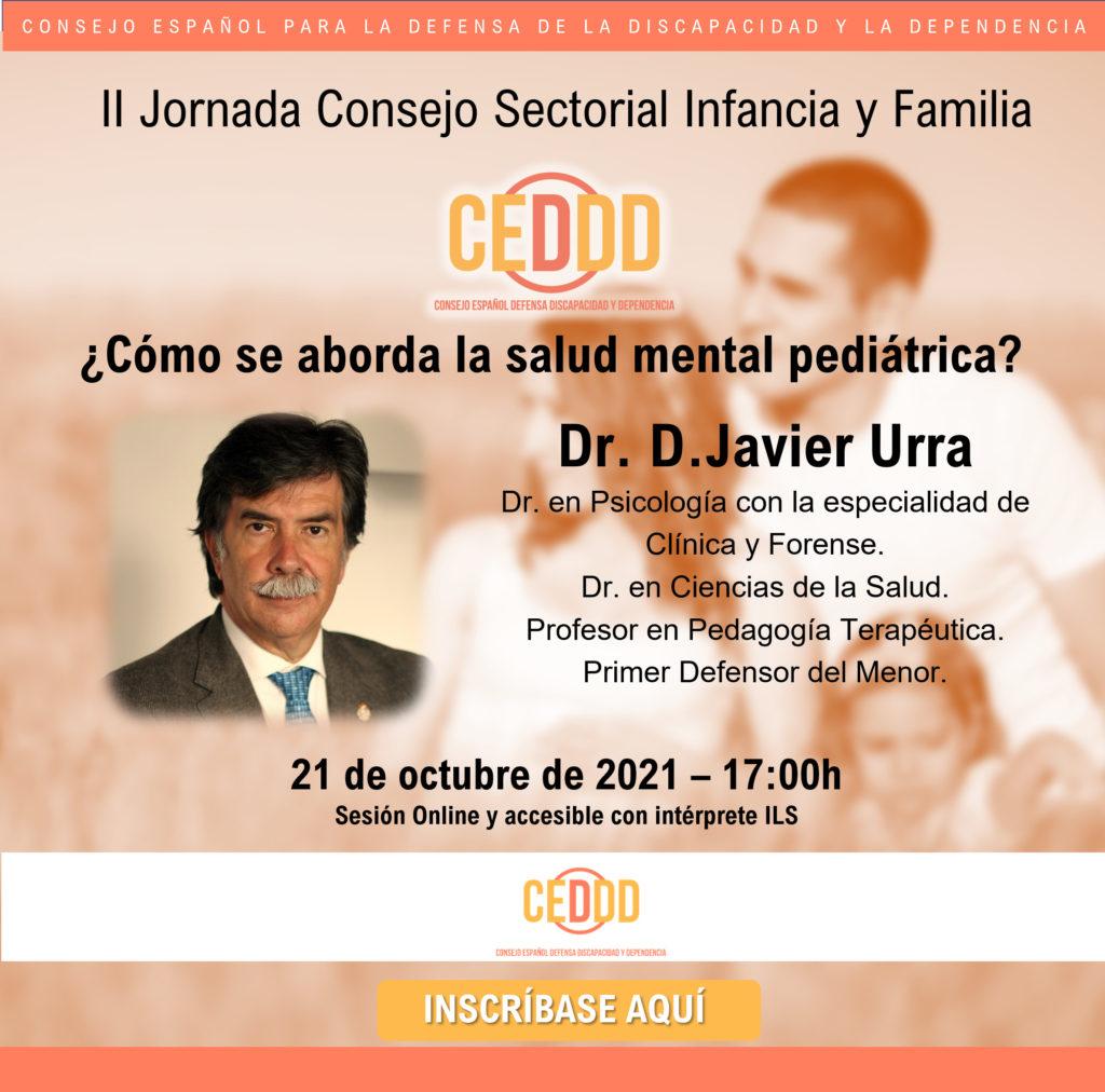inscripción jornada Javier Urra, organizada por el Consejo Sectorial de Infancia y Familia del CEDDD.